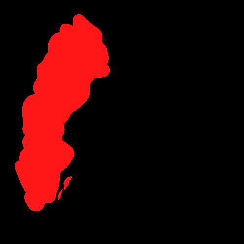 Teckning av Sverige och hus
